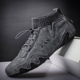Men Comfy Handmade Soft Non Slip Elastic Leather Sock Ankle Boots