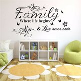 Family Love Tree Quotes Wall Sticker Art Living Room Flyttbare dekaler Hjemmeinnredning
