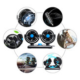 12V/24V 360° All-Round Mini Auto Air Cooling Dual Car Fan Portable Adjustable Low Noise
