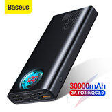 Baseus 30000mAh Power Bank 5 saídas e 3 entradas 18W USB-C PD3.0 QC3.0 Carregamento rápido LED Display digital externo Bateria para iPhone 11 SE 2020 para Huawei Xiaomi