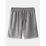Männer Loose Casual Home Einfarbige elastische Taille Kordelzug Tasche Sport Shorts
