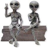 Statue en résine ovni jardin extraterrestre statues extraterrestres ensemble de figurines décoration de bureau