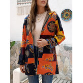 Ethnic Floral Printed Hooded Pockets Jackets Coats for Women
