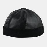 Mężczyźni PU Leather Hip-hop Style Street Trend Fashion Jednolity kolor WInter Keep Warm Landlord Skull Hat