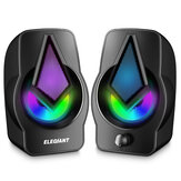 ELEGIANT PC Speakers 2.0 Controle de volume estéreo alimentado por USB com LED Light Mini Portable Gaming Speakers 3,5 mm para PC Tablets para celular Desktop Laptop