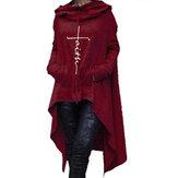 Women Casual Solid Color Hooded Irregular Hem Sweatshirt