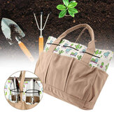 Printed Cactus Pattern 8 Pockets Gardening Kits Tools Organization Bags Canvas Fabric Storage Carry Bags for Shovel Scissor Shear Cutter