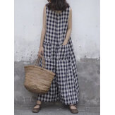 Women Sleeveless Plaid Loose Wide Leg Jumpsuit