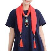 Etniske kvinder halskæde multifunktions bomuld tørklæde Bohemian turkis perle kvast beklædning tilbehør