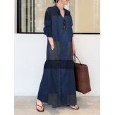 Women Casual Plaid Lapel Long Sleeve Button Vintage Shirt Maxi Dresses With Pocket