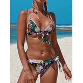 Femmes Multicolor Pritnt Triangle Bow-Knot Top String Hot Swimwear Bikini