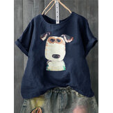 Frauen Casual Print Hund Cartoon Kurzarm T-Shirts