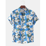 Mens Floral Printed Revers Casual Loose Kurzarmhemden