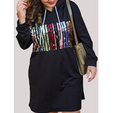 Plus Size Sequins Patchwork Hooded Sweatshirts Dress