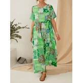 Vintage Ethnic Style Printed Short Sleeve Maxi Dress With Pocket