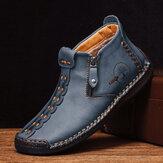Męskie szwy ręczne Skórzane antypoślizgowe antypoślizgowe noski na co dzień buty do kostki