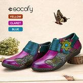 SOCOFY Baskı Ekleme Bitki Desen Çengel Döngü Düz Deri Ayakkabı