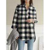 Botón de solapa de manga larga con dobladillo alto y bajo con estampado de cuadros para mujer Camisa con bolsillo