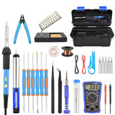 Toolour 60W Elektrische Soldeerbout Kit EU / US Plug Aanpassen Temperatuur Backlit Digitale Multimeter Soldeer Assist Set Lassen reparatie Tools