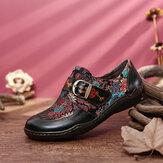 SOCOFY Retro kwiaty haftowane skórzane tłoczone klamra w kwiat śliwki wsuwane płaskie buty