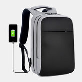 Men Polyester 15.6 Inch USB Charging Waterproof Business Laptop Bag Backpack