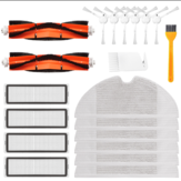 20pcs Replacements for Xiaomi Mijia 1C/STYTJ01ZHM Dreame F9 Robotic Vacuum Cleaner Parts Accessories Main Brushes*2 HEPA Filter*4 Side Brushes*6 Mop Clothes*6 Cleaning Tools*2 [Not-original]