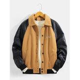 Męska wełniana kurtka z haftowanymi, patchworkowymi rękawami raglanowymi z kieszenią