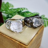 Vintage Geometric Irregular Natural Crystal Ore Ring Metal Hollow Transparan Gemstone Finger Rings