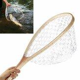 58 सेमी लकड़ी के हैंडल फ्लाई मछली मत्स्य पालन लैंडिंग ट्राउट साफ़ रबड़ नेट मेष पकड़ो टैक
