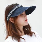 Cappello pieghevole da donna pieghevole pieghevole estivo a cilindro vuoto