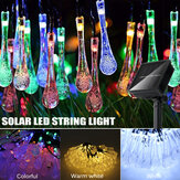 32FT 10M 100LED Gota de água solar String String Fairy Light Outdoor Garden Party Christmas Lawn Lamp Decor
