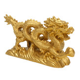 Harz Gold Drache Figurine Statue Ornamente Chinesische Geomantie Home Office Dekoration