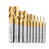 Drillpro 10PCS 2-10mm Titanium Coated HSS 4 Flute End Mill Cutter CNC Drill Bit Milling Cutter Set