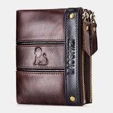 Männer RFID Blockieren Diebstahlsicherung Echtes Leder Doppelreißverschluss Brieftasche Münztasche Karte Hodler