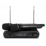 Sistema de Microfone Sem Fio UHF Profissional de Dois Canais Sistema de Karaokê KTV Amplificador de Alta Fidelidade Mic de Mão Dupla