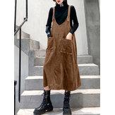 Frauen Cord einfarbig ärmellos Vintage Kleider mit Tasche