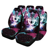 1/2/7PCS Car Seat Cover Set Universal Fit Sky Wolf Pattern Seat Protection Cover