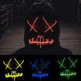 EL Cold Light Máscara LED Light Luminous Halloween Máscara Cosplay Glow LED Scary EL Fio Light Up Grin Máscaras Hip-hop Luminous Cross Máscara