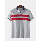 Mens Color Block Half Open Button Casual Golf Shirts