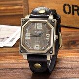Vintage casual vierkante wijzerplaat verstelbare achthoek lederen band heren quartz horloge polshorloge