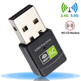 Placa de rede sem fio USB Bakeey 600 Mbps Adaptador Wi-Fi duplo Banda Dongle Wi-Fi 2.4G / 5G para PC desktop laptop