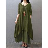 Women Buttons V-neck Double Layer Asymmetric Maxi Dresses