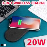 Bakeey 2 w 1 20W Qi bezprzewodowa ładowarka podkładka do szybkiego ładowania podstawa do szybkiego ładowania dla iPhone11 Pro Max Galaxy S10 / Note10