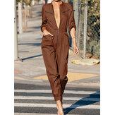 Frauen Reißverschluss vorne Langarm Beam Feet Cargo einfarbige Overalls mit Tasche