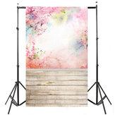 5x7FT Waterverf Roze Bloemvloer Fotografie Achtergrond Foto Achtergrond Rekwisieten