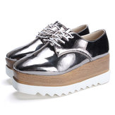 New Women Shiny Lace Up Flats Double Platform Oxfords Fashion Comfortable Shoes