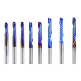 Drillpro 4 mm schacht 1 fluit Spiraalfrees Carbide frees blauw Nano Coating CNC freesbit Enkele fluit freesfrees