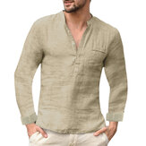 Mens Casual Wild Home Wear Plain Stand Collar Long Sleeve Henley Shirt