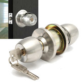 Stainless Steel Round Door Knobs Handle Entrance Interior Passage Lock Entry with Key