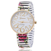 Fashion Casual Ethnic Style Flower Pattern Elastic Strap Women Quartz Watch
